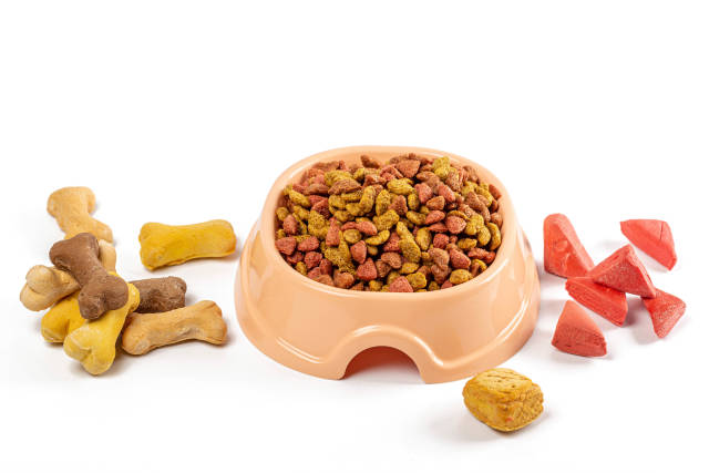 Dry pet food and treats, pet care concept