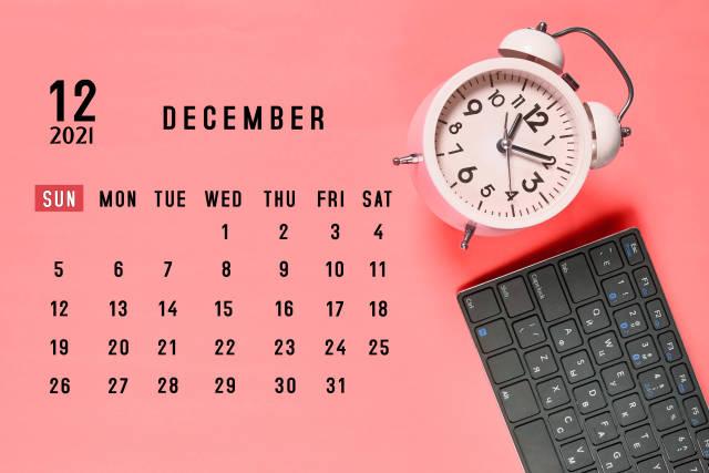 December 2021 monthly office calendar