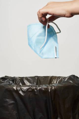 Hands throwing medical mask into trash bin