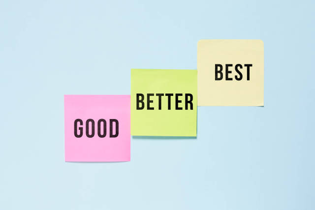 Good, better and best - progress, steps to success