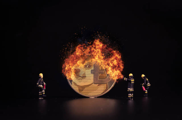 Dogecoin on fire and miniature firefighters
