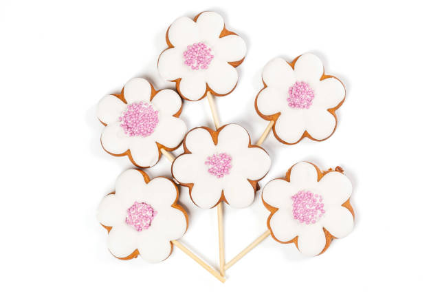 Cookies with glaze in the form of flowers