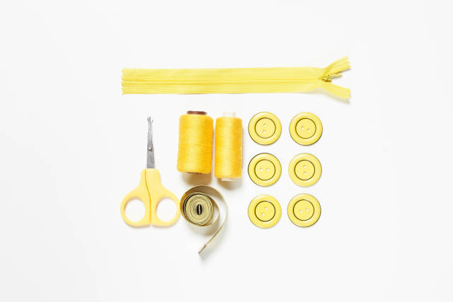 Tailors tools and accessories all in yellow