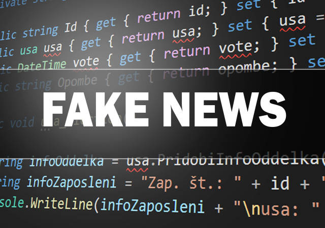 Fake news text over programming source code