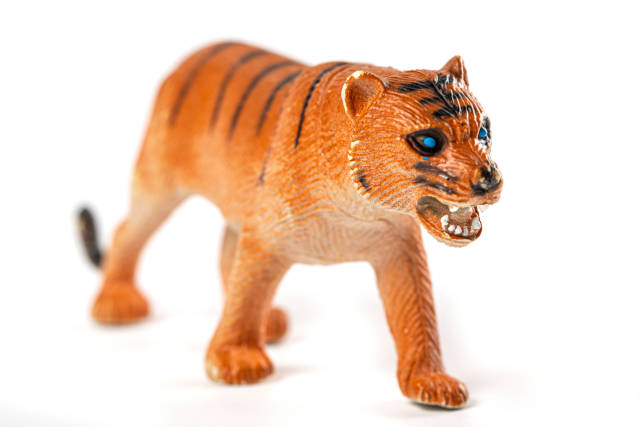 Childrens toy tiger with open mouth