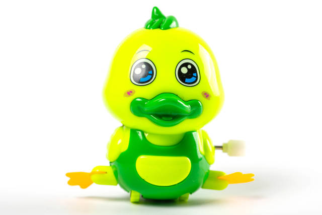 Green duck toy on white background