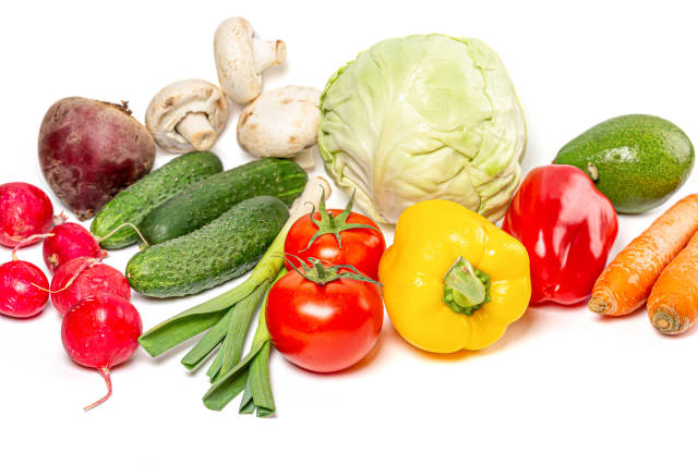 Healthy food concept, fresh raw vegetables and mushrooms