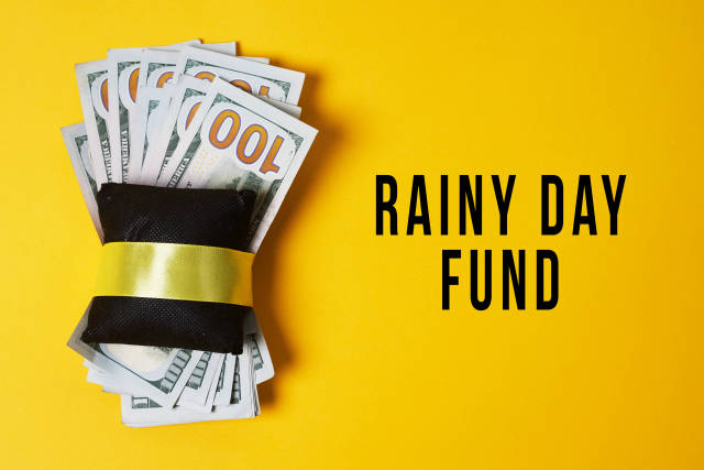 Money wrapped with pillow - Rainy day fund