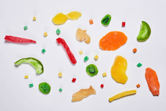 Dried fruits mix on white background