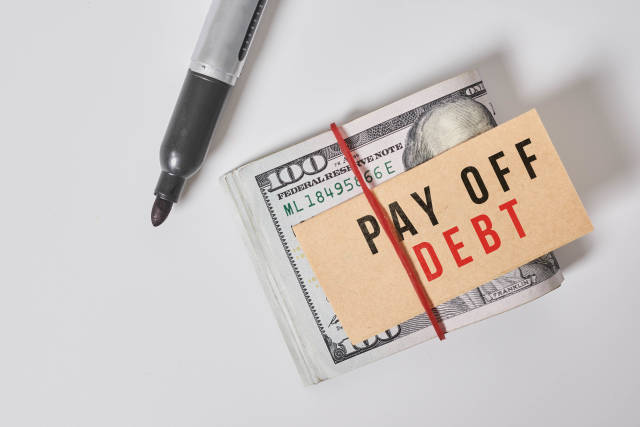 Money and Pay off debt concept