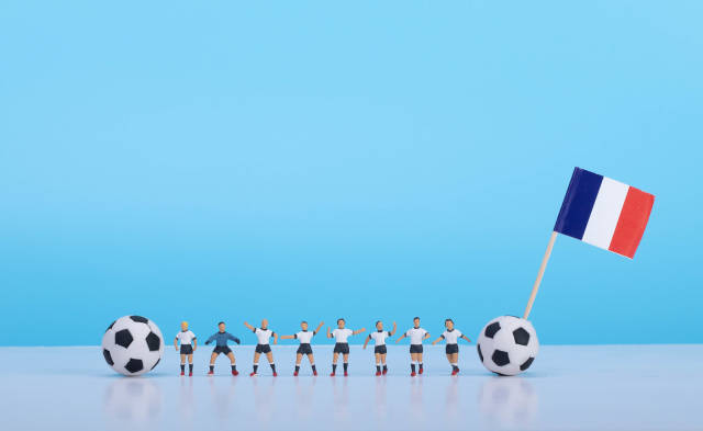Soccer players with flag of France