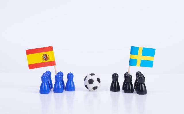 Football match Spain Vs. Sweden