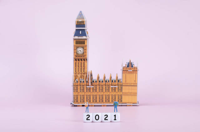 Two travelers standing on blocks with 2021 text in front of Big Ben