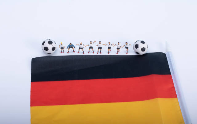 Soccer players with flag of Germany