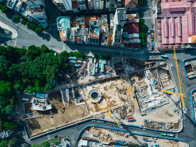 Top View Drone Photo of the Construction of the Main Station of Saigon Metro next to Ben Thanh Market in District 1 in Ho Chi Minh City, Vietnam