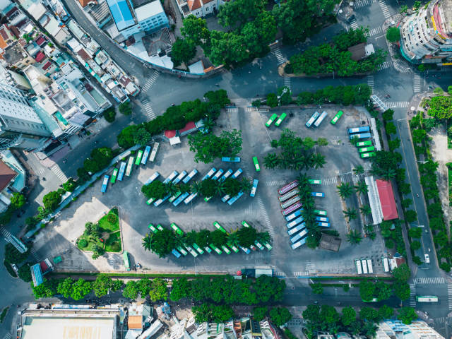 Top View Drone Photo of a large Bus Station at 23/9 Park in the City Center in District 1 in Ho Chi Minh City, Vietnam