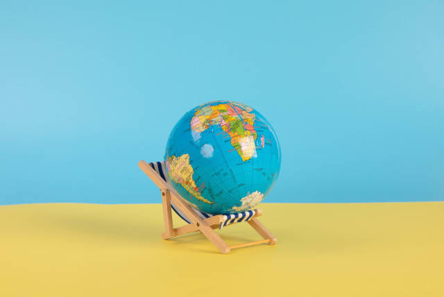 Globe on the top of deck chair