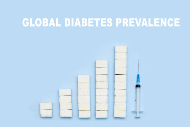 Global diabetes prevalence - growing graph from sugar cubes