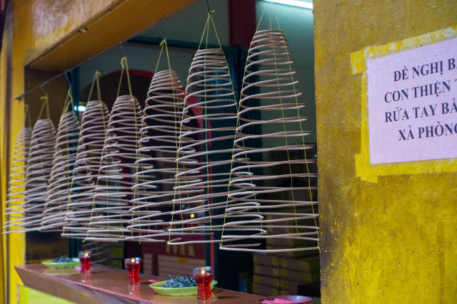 Close Up of Hanging Incense Cones sold at Quan Am Pagoda in Chinatown in Ho Chi Minh City, Vietnam