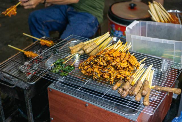 Gegrilltes Rindfleisch, Schweinefleisch und Hähnchen auf Spießen neben einem Holzkohle-Grill bei einer Straßenküche in Hoi An, Vietnam