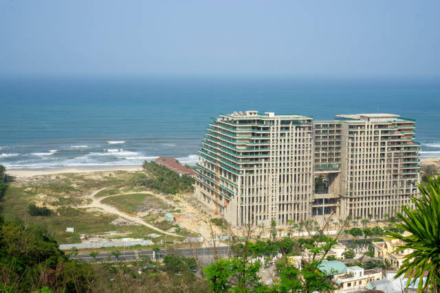 View of the Ocean with a Beachfront Hotel Construction from a Viewpoint of Marble Mountains in Da Nang, Vietnam
