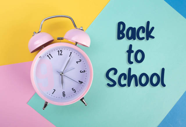 Alarm clock with Back to School text
