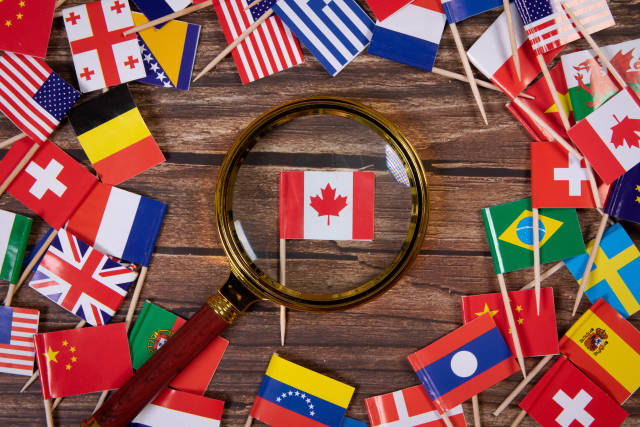 Magnifying glass on the flag of Canada