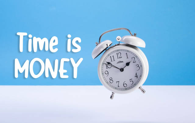 Alarm clock with Time is Money text
