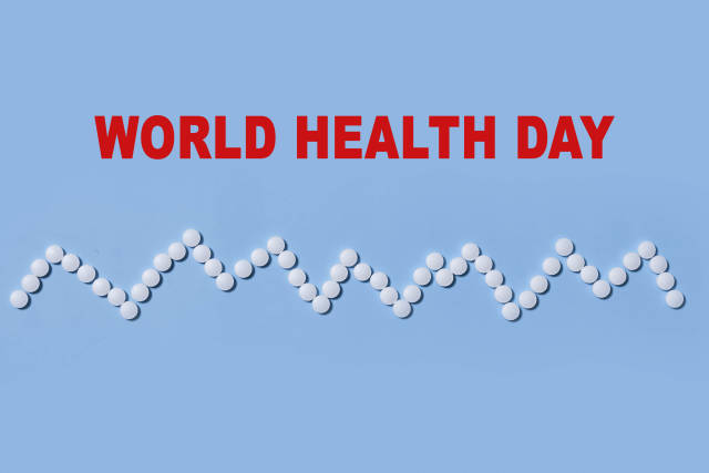 Heartbeat made of medical tablets - World health day