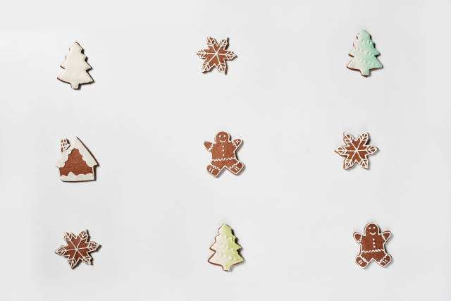 Sweet Christmas cookies on the white background