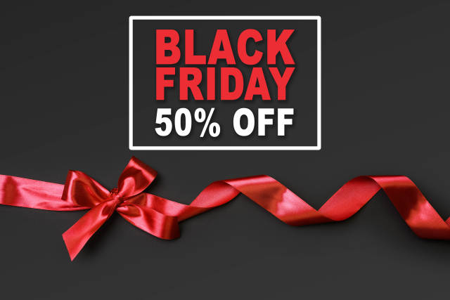 Black Friday banner with 50% off discount sale on black background