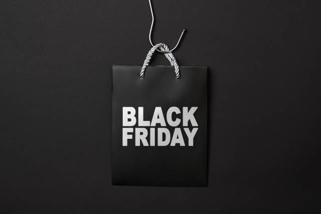 Black friday bag on dark background