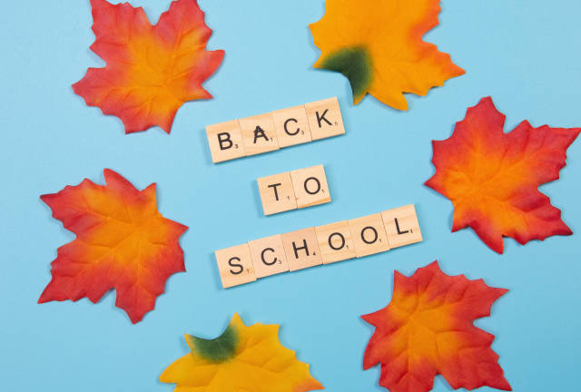 Autumn leaves with back to School text on blue background