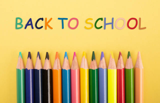 Colored pencils with Back to School text
