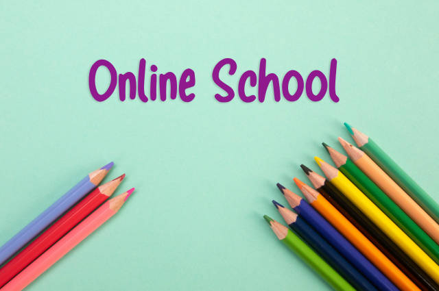 Colored pencils with Online School text