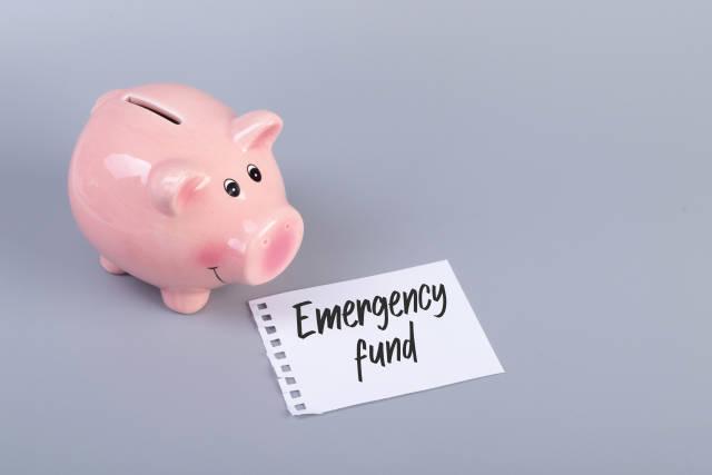 Piggybank with Emergency Fund text