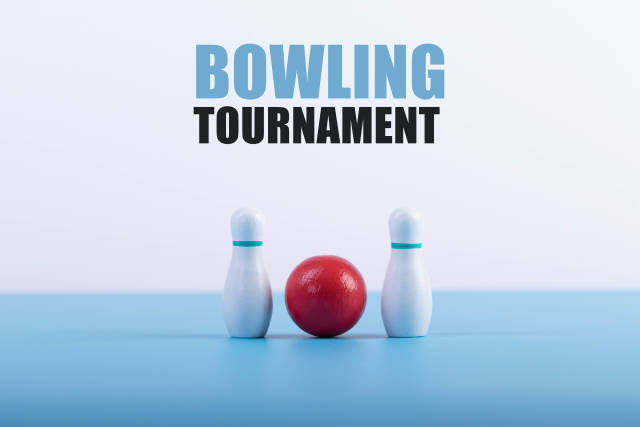 Bowling pins and ball with Bowling Tournament text