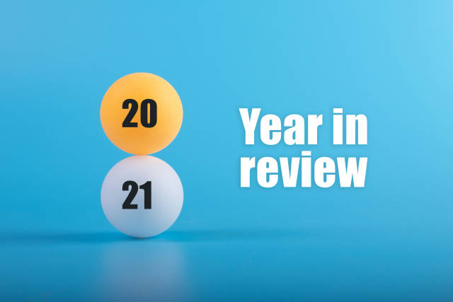 Table tennis balls with 2021 Year in review text