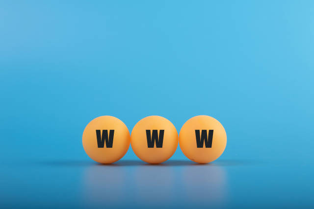 Table tennis balls with WWW text