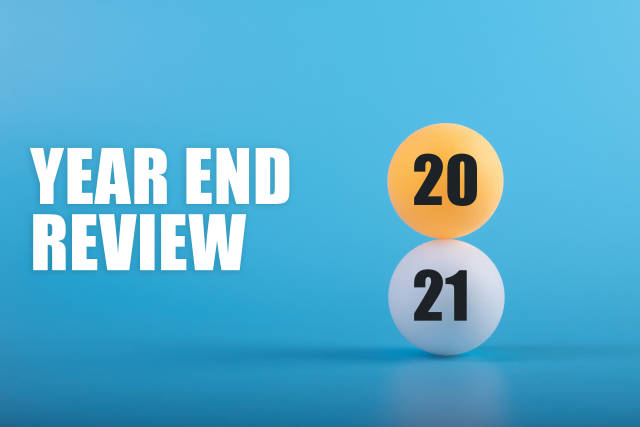 Table tennis balls with 2021 Year End Review text