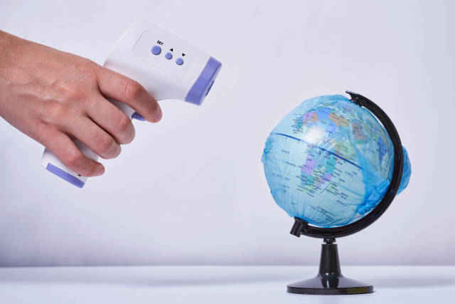 Measuring globe temperature with thermometer