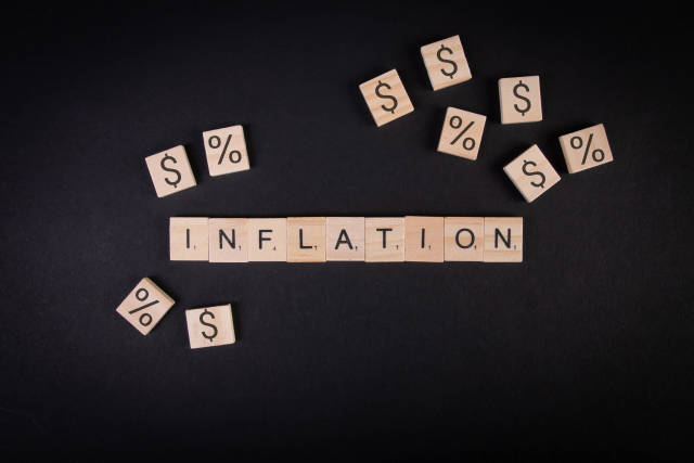 Inflation text on wooden blocks